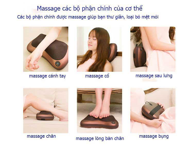 gối massage hồng ngoại 8 bi kazuko mới nhất