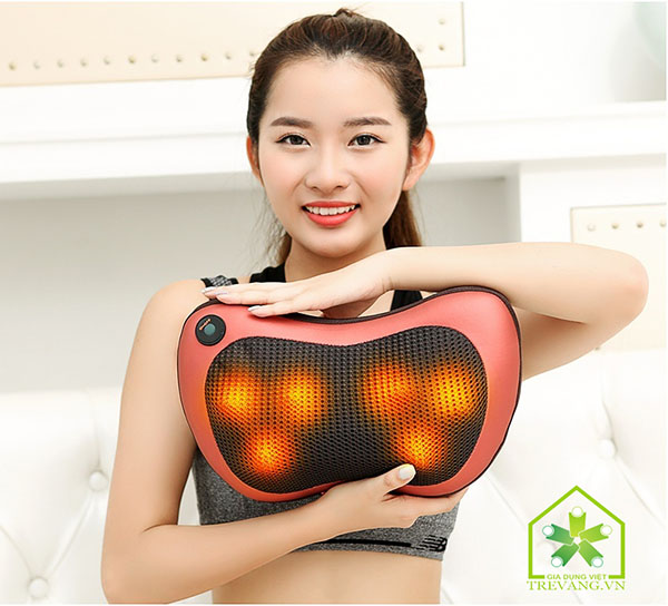 gối massage hồng ngoại 6 bi thông minh