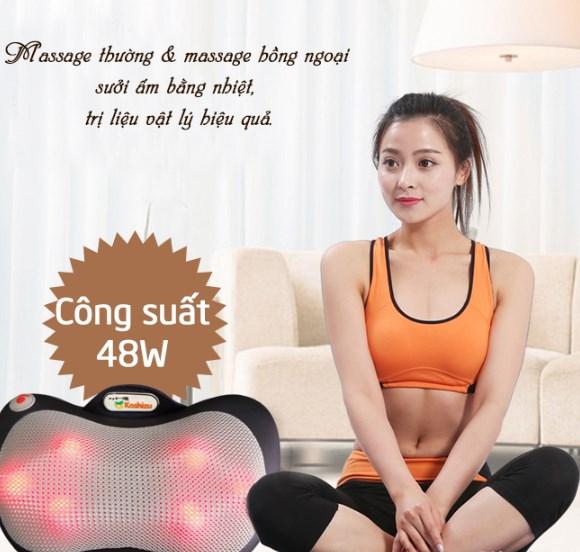 gối massage lưng cổ hồng ngoại 6 bi