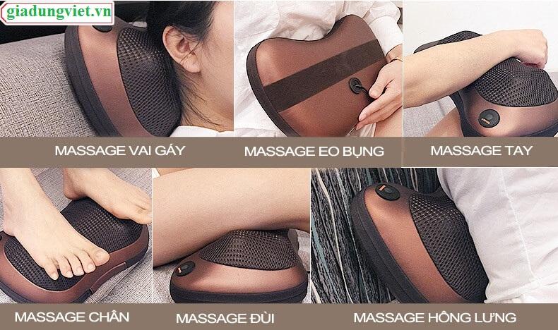 Gối massage hồng ngoại trên mọi vị trí