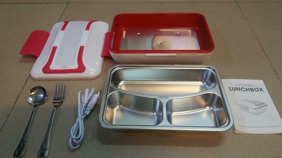 hộp cơm hâm nóng Lunchbox ruột inox đỏ