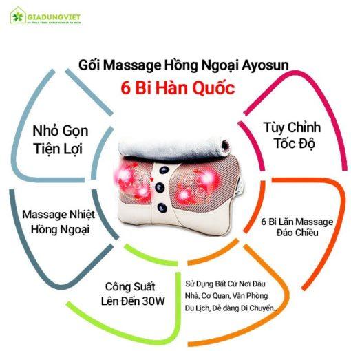 Gối massage hồng ngoại Ayosun 6 bi giá rẻ