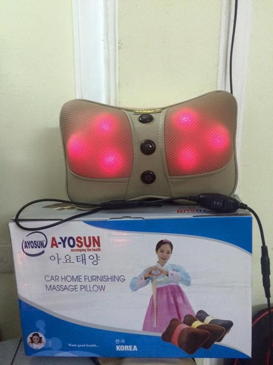 Gối massage hồng ngoại Ayosun 6 bi Hàn Quốc