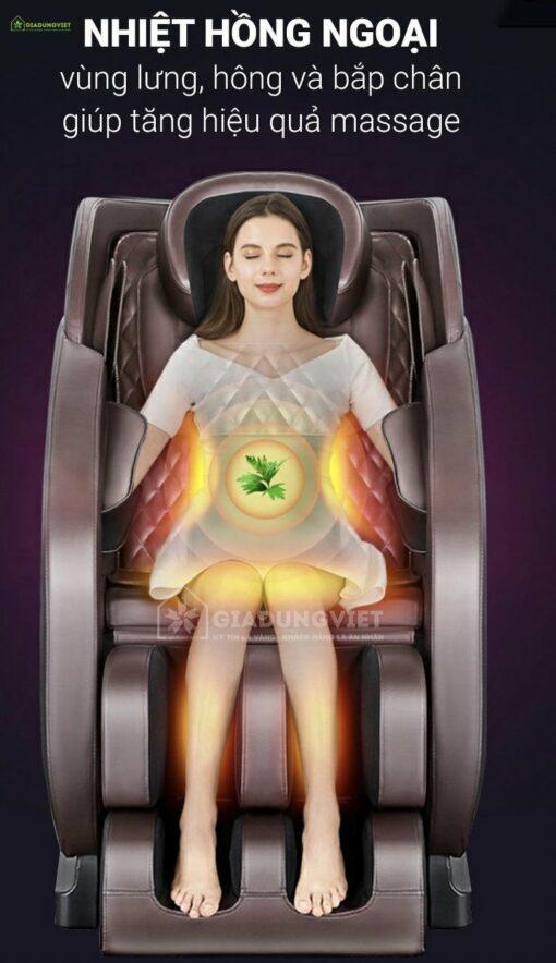 ghế massage Nhật Bản Saporoo 68 nhiệt lưng