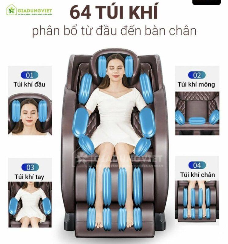 ghế massage Nhật Bản Saporoo 68 túi khí toàn thân