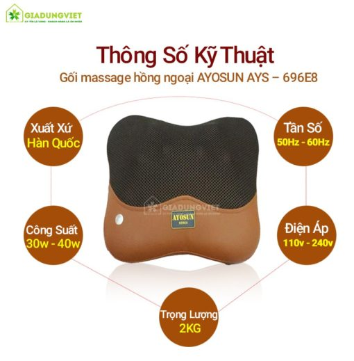 Gối massage hồng ngoại AYOSUN AYS – 696E8 chính hãng